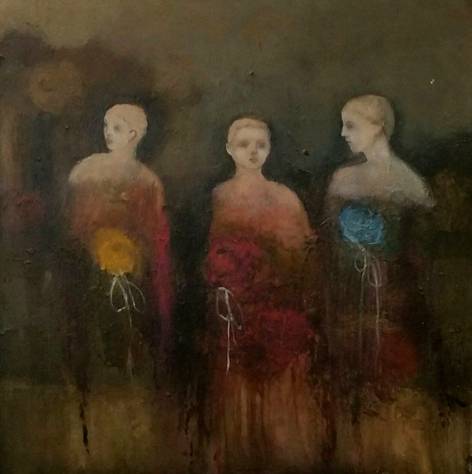 """""""Three"""" by Jeanie Tomanek, Oil on canvas, 30x30 inches"""