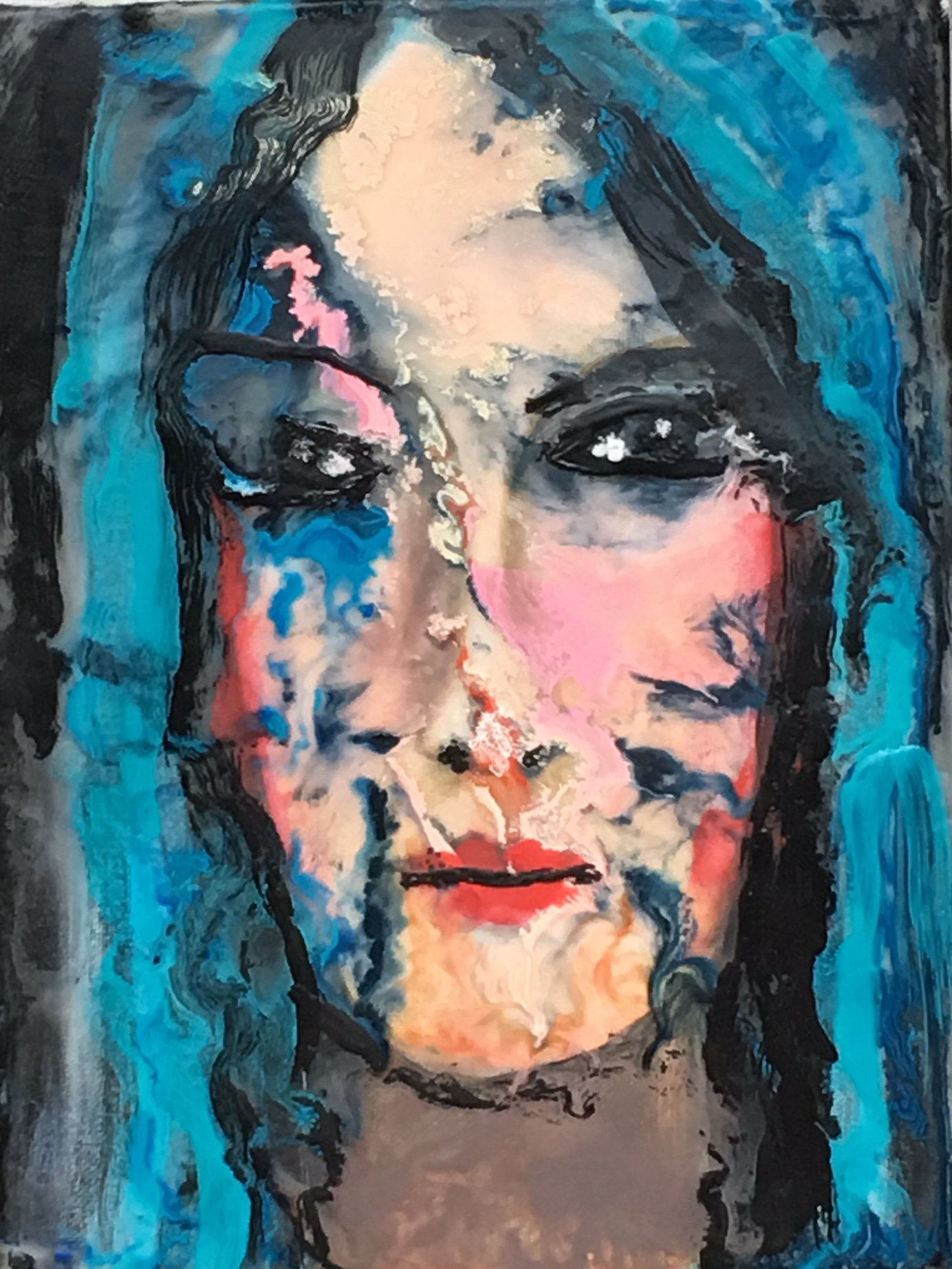 """Blue Hair"" by Catherine Hall, 12x9, encaustic on canvas"