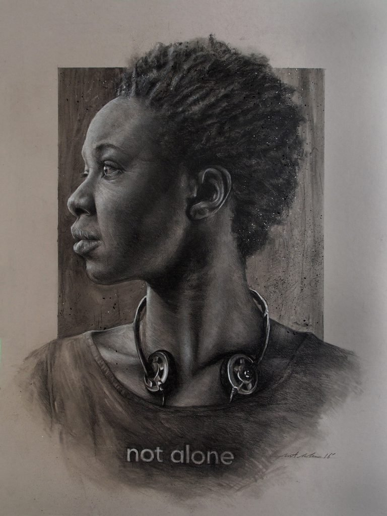 """Listen 8 by Brent Schreiber, 18""""x24"""", charcoal and graphite on toned illustration board"""