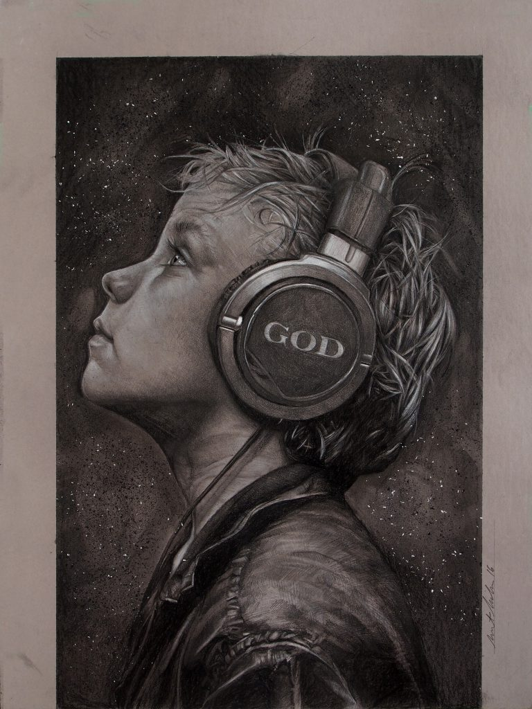 """Listen 10 by Brent Schreiber, 15""""x20"""", charcoal and graphite on toned illustration board"""
