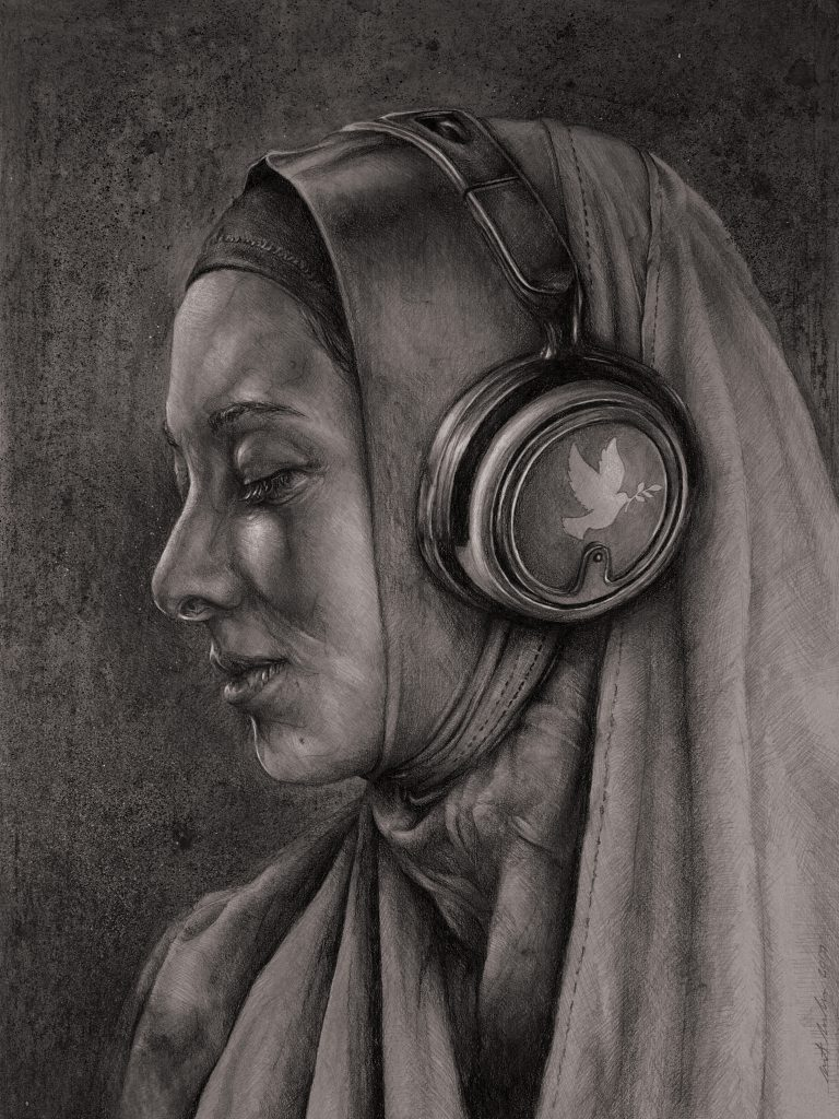 """Listen 21 by Brent Schreiber, 15""""x20"""", charcoal and graphite on toned illustration board"""