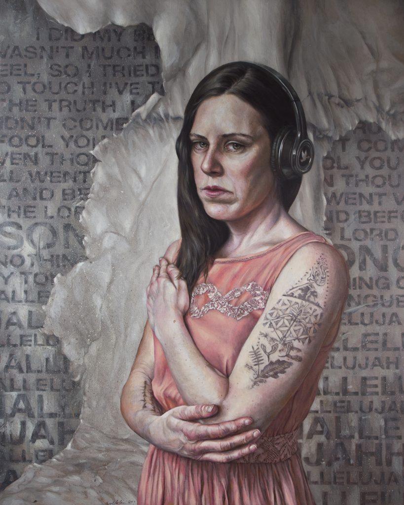 """Listen 24 by Brent Schreiber, 24""""x30"""", acrylic on birch panel"""
