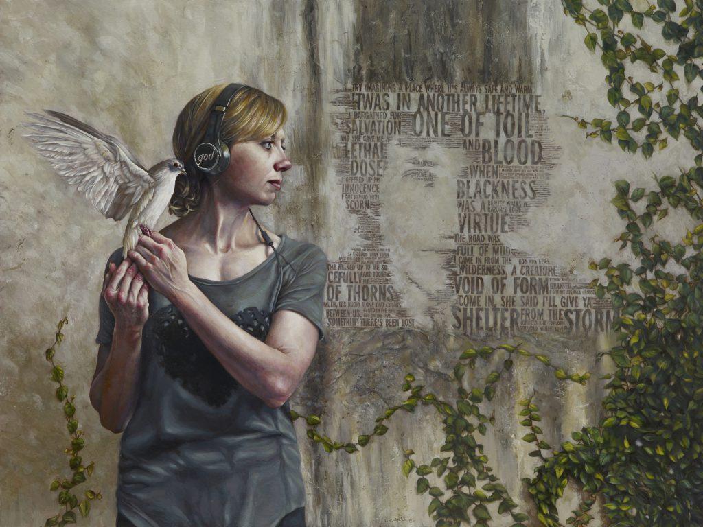 """Listen 25 by Brent Schreiber, 48""""x36"""", acrylic on birch panel"""
