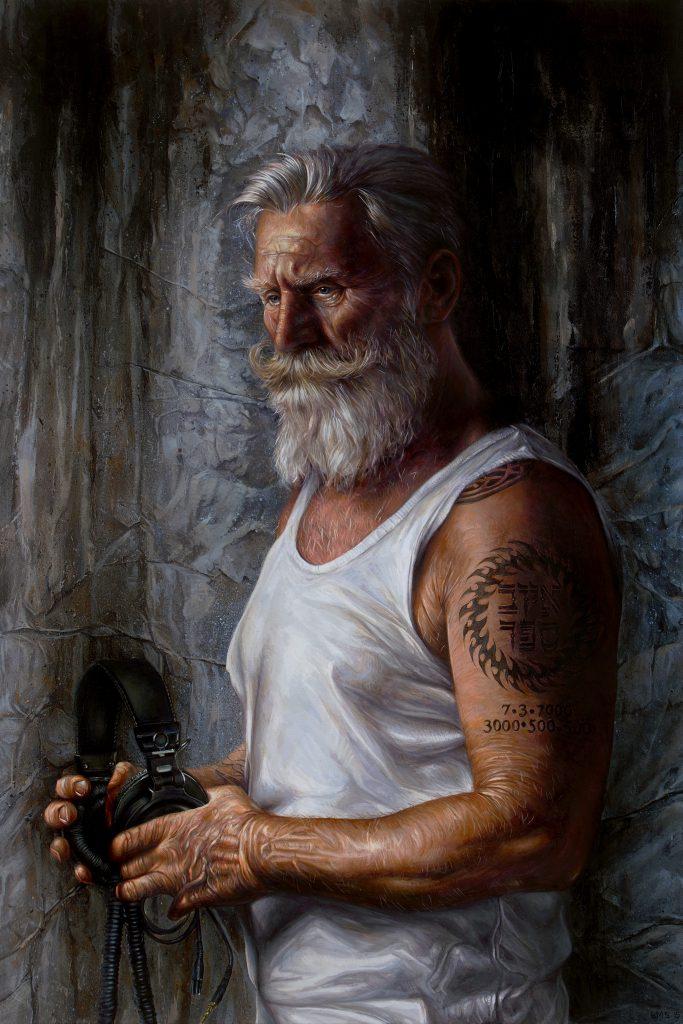 "Listen 6 - Job by Brent Schreiber, 24""x36"", acrylic on canvas"
