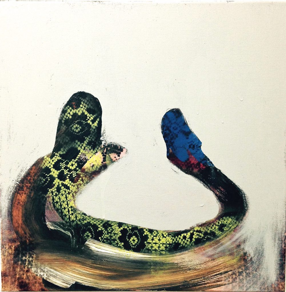 """Snake Sock"" by Ronna Lebo, 2015, 24x24, oil, acrylic and spray paint on canvas"