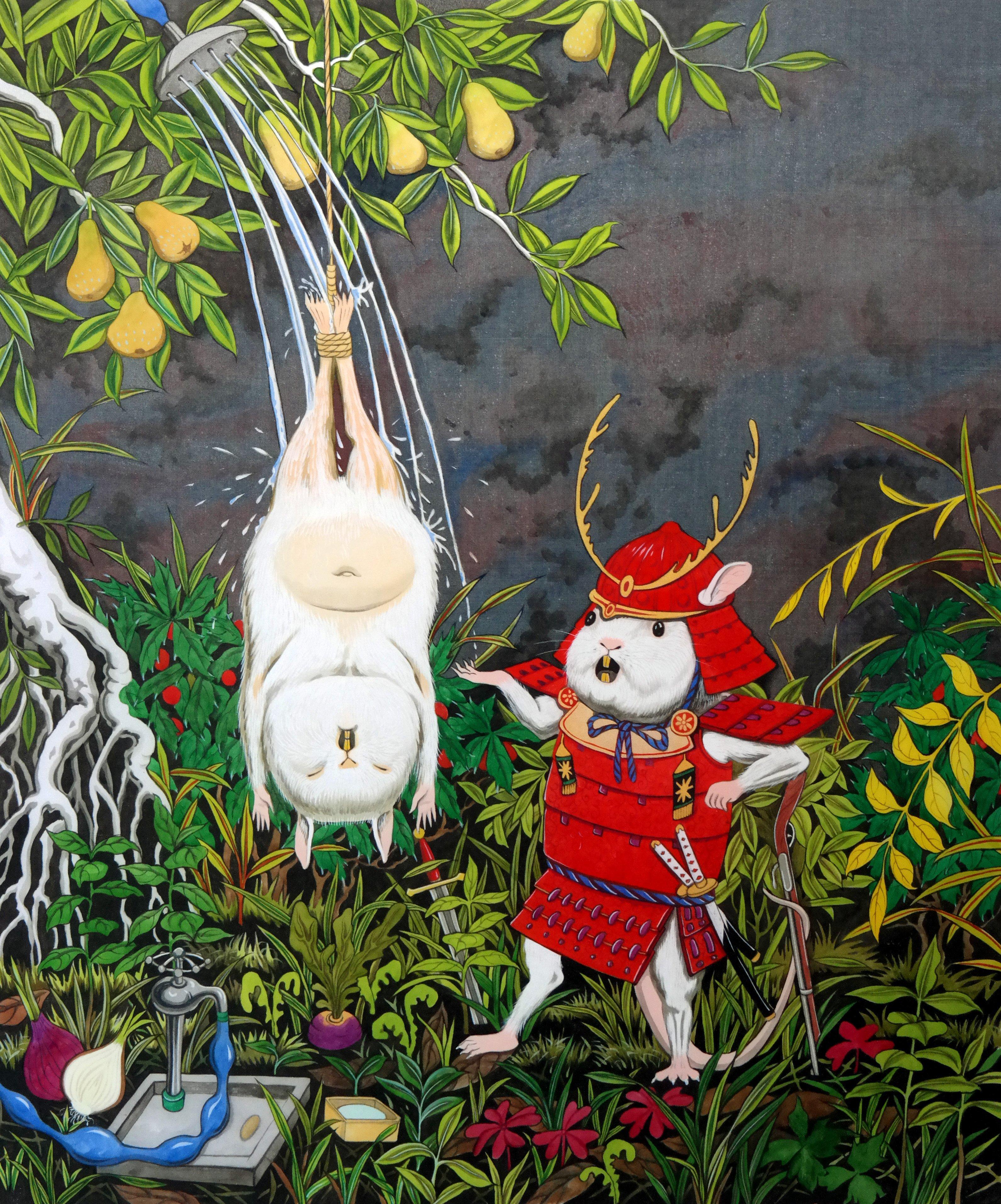 """Homage to Bill Viola"" by Hun Kyu Kim, traditional oriental pigment on silk, 38X49cm, 2017"