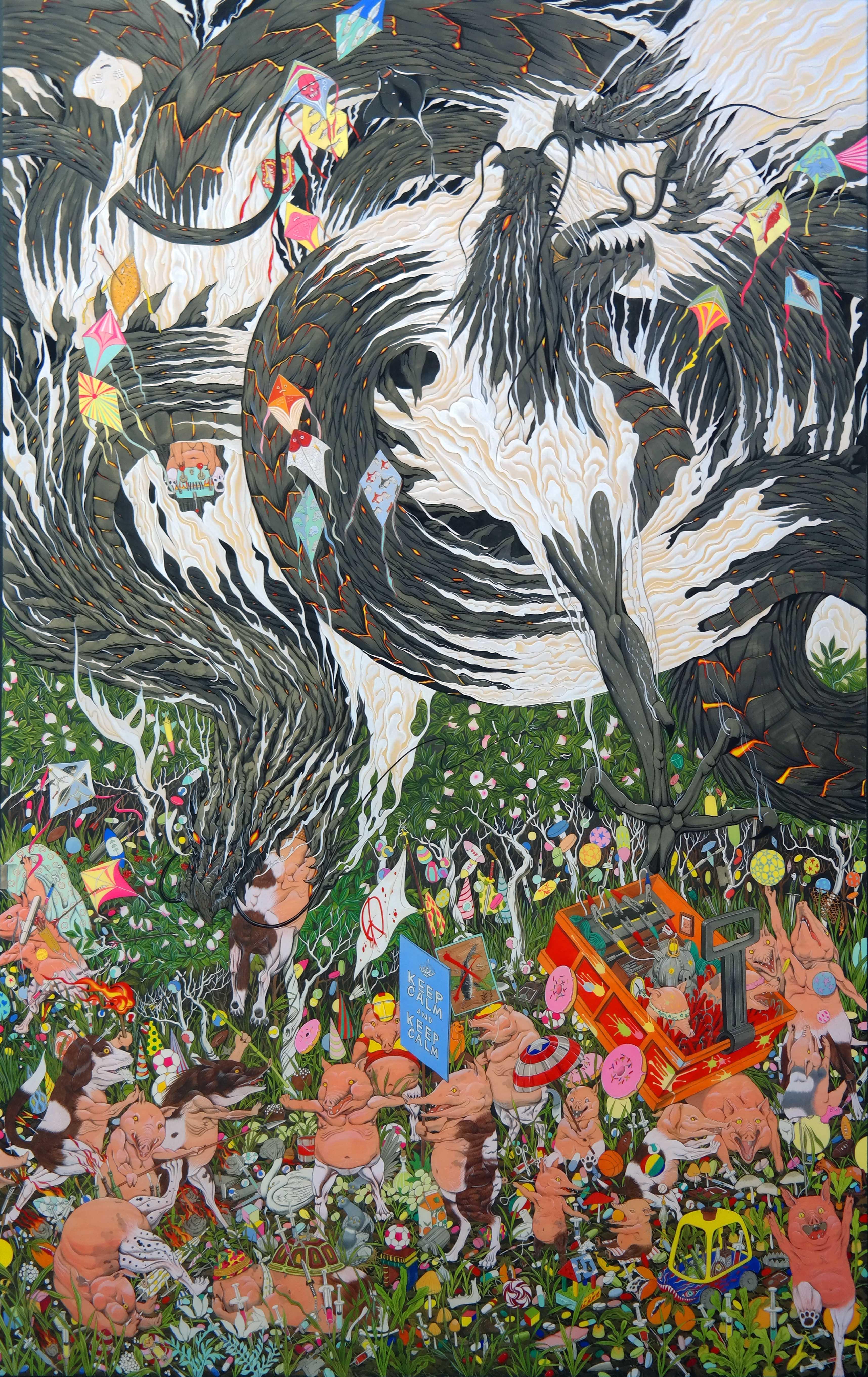 """Pigdog"" by Hun Kyu Kim, traditional oriental pigment on silk, 120X190cm, 2016"