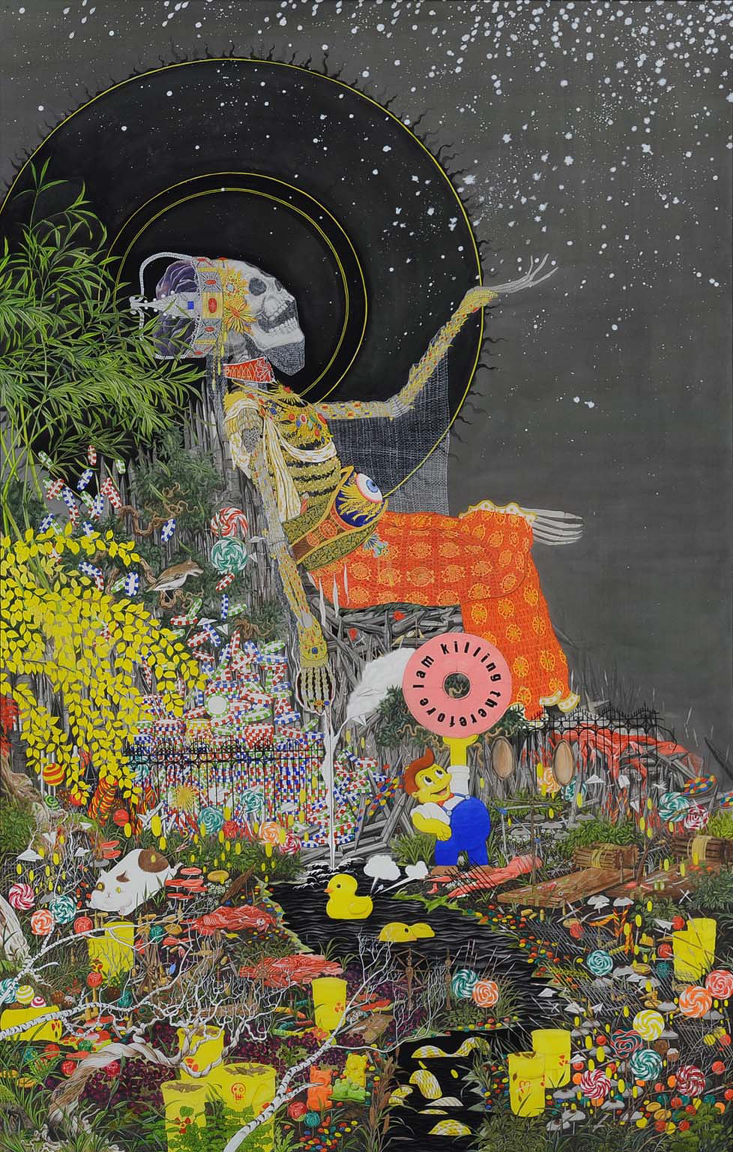 """The fertile land"" by Hun Kyu Kim, traditional oriental pigment on silk, 120X190cm, 2016"