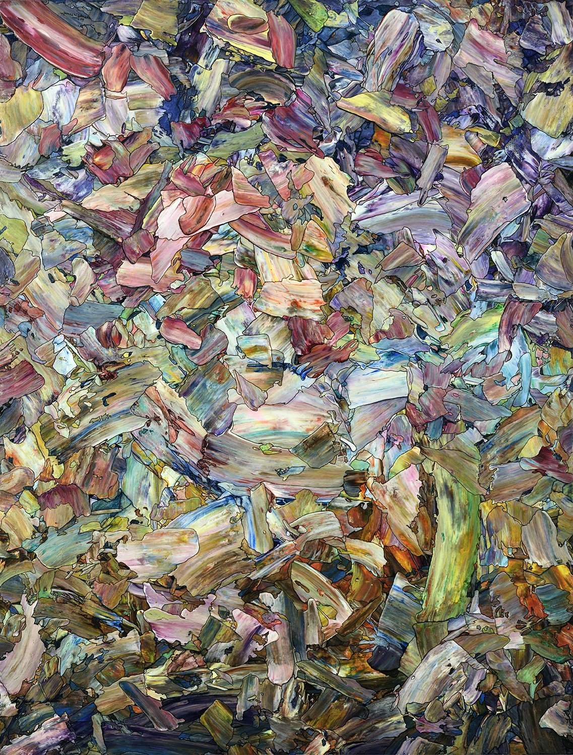 """Roadside Fragmentation"" by James W Johnson, acrylic/ink on panel, 25x19, 2014"