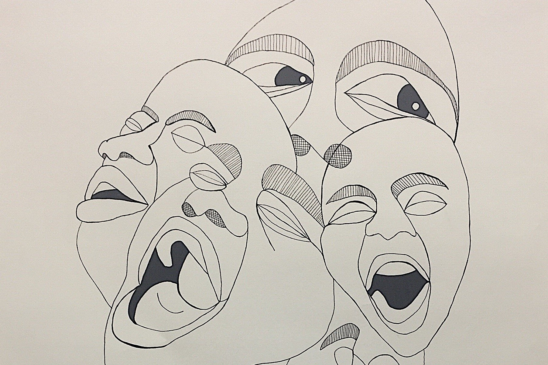 Contemporary Black Identity: Mouth, Ink on Paper, 19 x 24 in, 2018