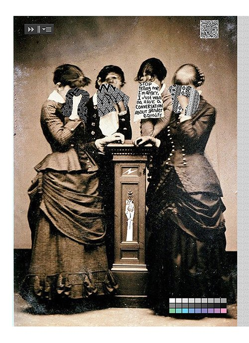 """The Executive Meeting"" by Julia Justo, mixed media (vintage photograph, thread), 2018, 16x20 in."