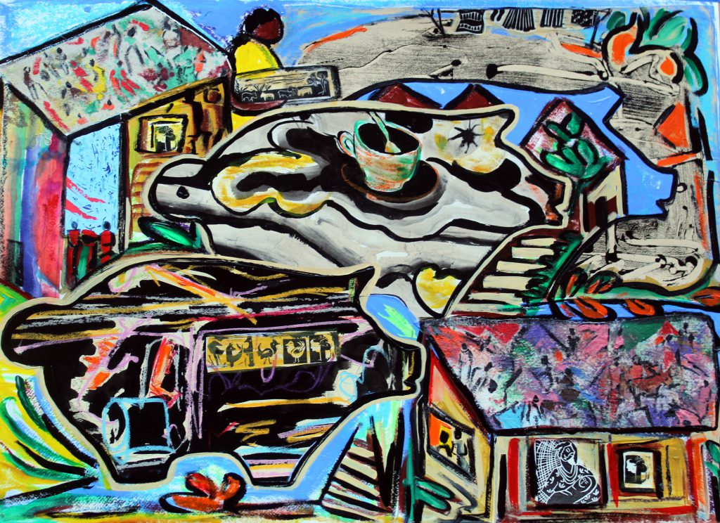"""""""Down on the Farm #4,"""" by Malaika Favorite, mixed media, 2018, 22×30 in."""