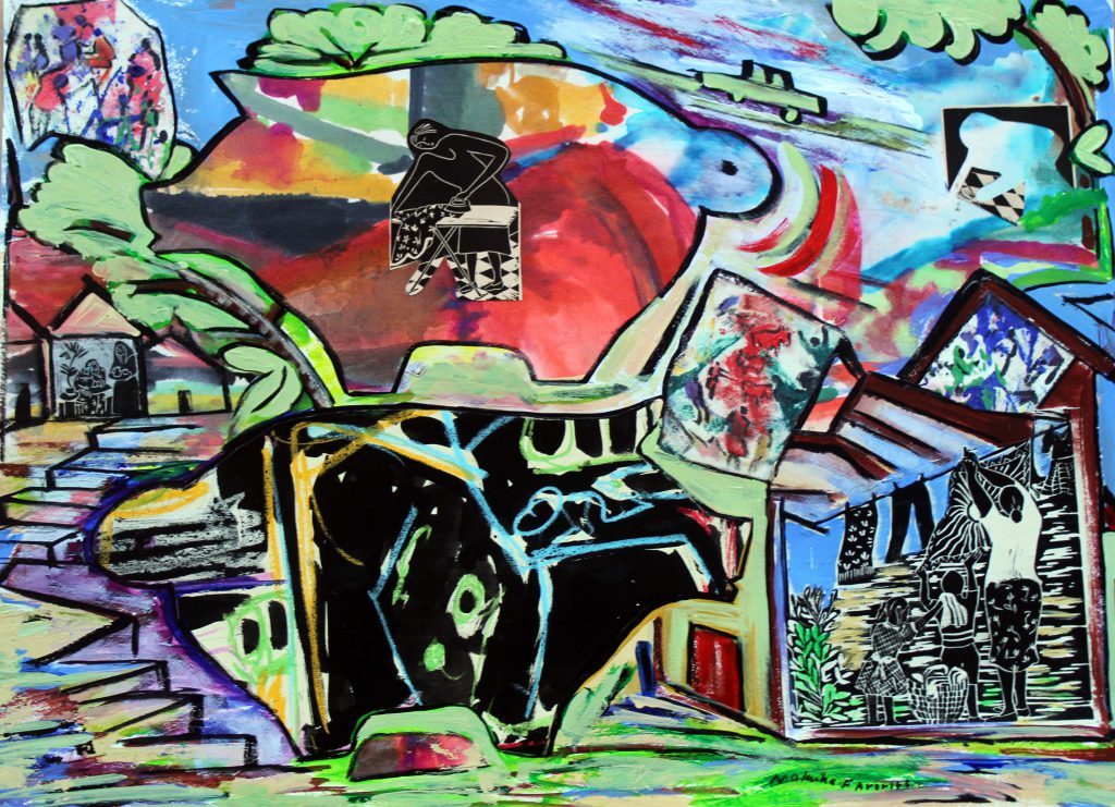 """""""Down on the Farm #5,"""" mixed media, 2018, 22×30 in."""