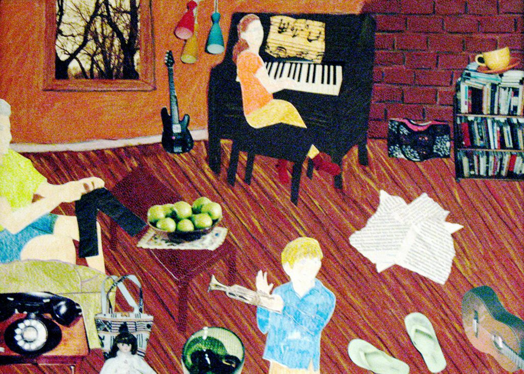 """The Family Room,"" mixed media collage, 22 x 28 in., 2009"