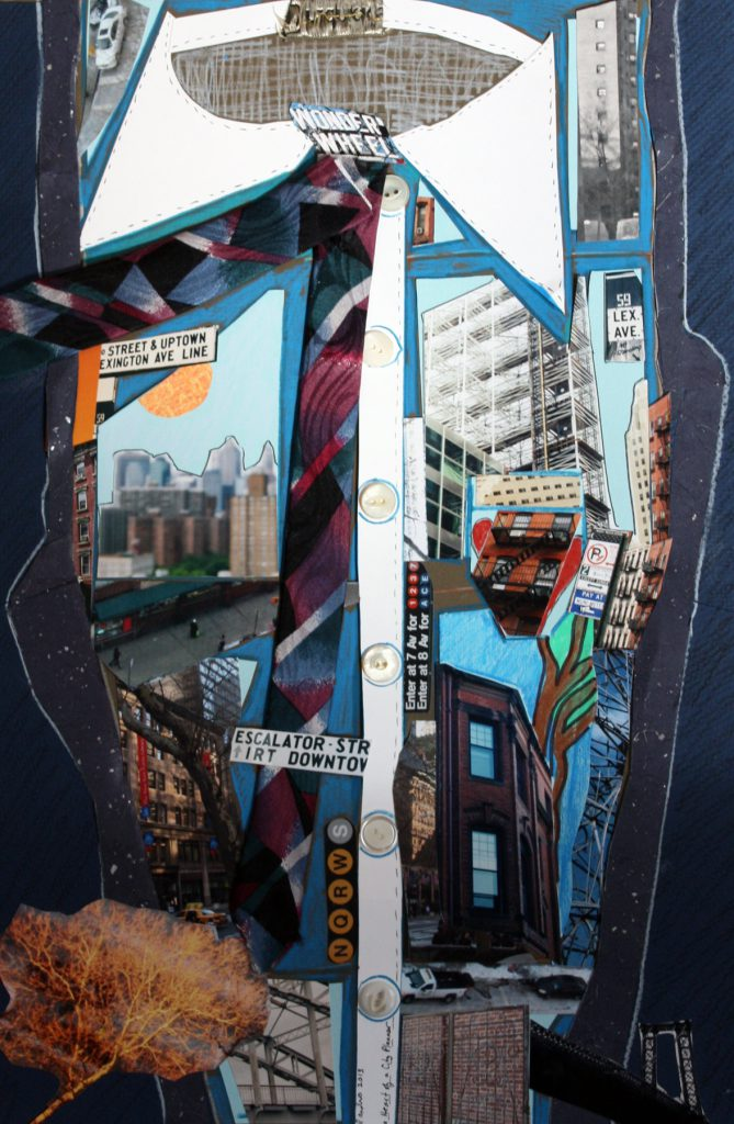 """Heart of a City Planner,"" mixed media collage, 12 x 18 in., 2012"