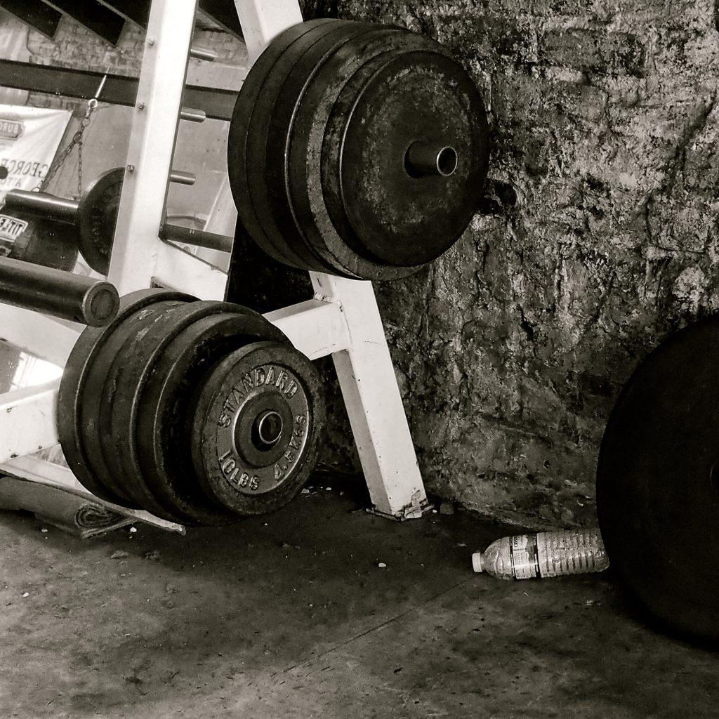 """Gym Weights,"" digital image, 8×8 in., 2017"