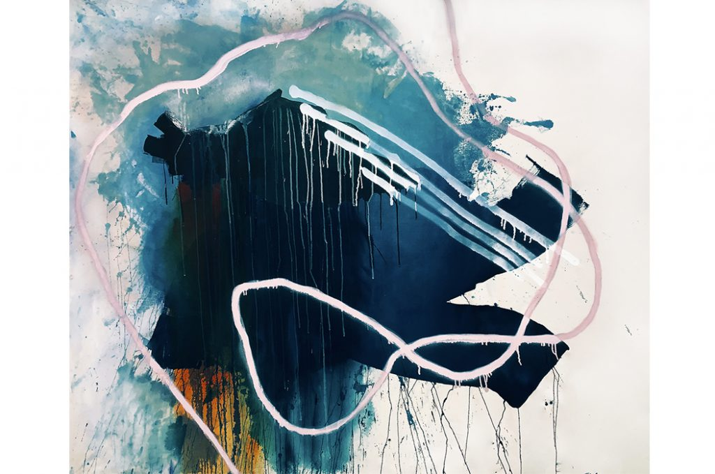 """""""Just Tying Up Loose Ends,"""" by Rebecca Youssef, Acrylic and Spray Paint on Stretched Canvas, 55×67.5 IN., 2019"""