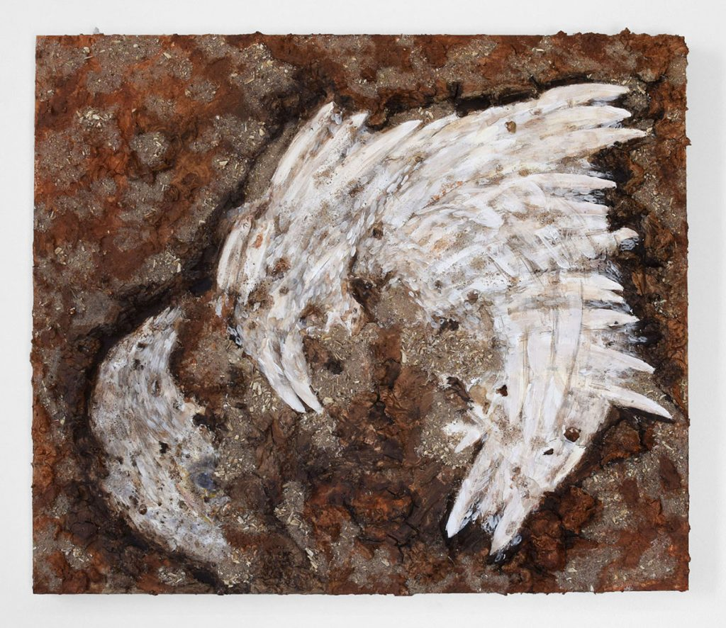 """Unburial,"" 2020, acrylic paint, clay, and salvaged chicken bones on panel, 24"" X 36"" X 1.5"""